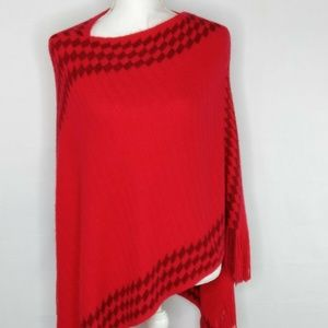 White Mark Womens Poncho Red Very Soft One Size
